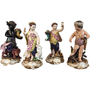 Antique Early 19th c. English Derby Porcelain Figures Representing the Four Continents: Asia, Europe, America, Africa