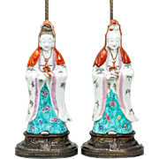 Pair Antique 19th century Chinese Porcelain Figures of the Kwan Yin in Famille Rose Palette Mounted as Lamps