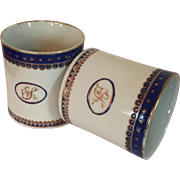 Pair Antique Early 19th century Chinese Export Porcelain Coffee Cans or Tea Cups for the American Federal Market
