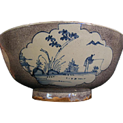 Antique 18th century English Liverpool Delft Punch Bowl in Manganese Glaze Decorated with Fishermen 1750