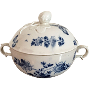 Antique 18th century Vienna Porcelain Ecuelle Bowl & Cover in Blue and White Glaze with Strawberry Knop