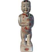 Antique 19th century Chinese Porcelain Ho Ho Boy Figure in Wucai Glaze
