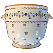 Antique 18th century Paris Old Porcelain Bottle Cooler Cachepot Planter in the Sprig or Cornflower Pattern - Rue Thiroux / Marie Antoinette