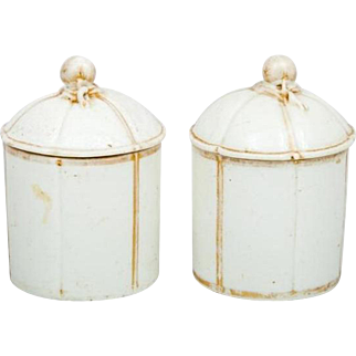 Antique 18th century French Mennecy Porcelain Jars with Covers Marked with Incised DV circa 1760