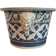 Large Early 19th century English Regency Adams or Turner Neoclassical Flower Pot with Satyr Heads in the Manner of Wedgwood Jaspwerware