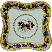 Antique 18th century English Worcester Flight & Barr Porcelain Square Dish with Grape Vine Decoration 1800
