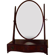Antique Early 19th century George III Oval Mahogany Dressing Table Mirror with Serpentine Front and Drawers for Storage