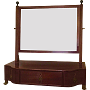 Antique Early 19th century Regency Mahogany Shaving or Dressing Table Mirror with Serpentine Front and Drawers for Storage