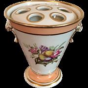 Antique 18th century English Derby Porcelain Bough Pot Flower Frog Vase Puce Mark 1800