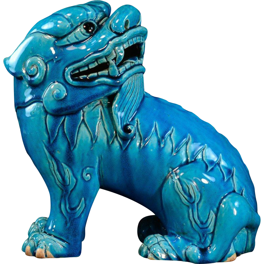 Antique Early 19th century Chinese Monochrome Porcelain Turquoise Glaze Figure of a Lion Mythical Beast or Foo Dog Kylin