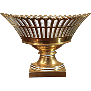 Very Large Antique Early 19th c. French Empire Paris Porcelain Gilt Reticulated Centerpiece Basket or Corbeille on Stand