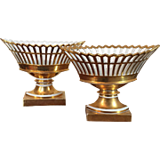 Assembled Pair of Large Antique Early 19th c. French Empire Paris Porcelain Gilt Reticulated Centerpiece Baskets or Corbeilles on Stands