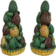 Pair Antique 18th century Chinese Kangxi Porcelain Altar Fruit Pyramid of Lychee in Famille Vert Glaze