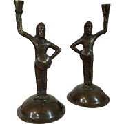Pair Antique 19th century Bronze Figural Candlesticks - Arthurian Knights of the Middle Ages Dressed in Armor