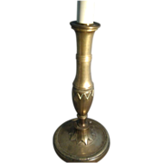 Antique Early 19th century French Empire Brass Candlestick in the Directoire Taste now Electrified as a Lamp