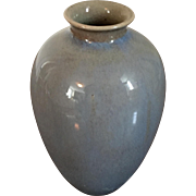 Small Scale Antique 19th century Chinese Monochrome Porcelain Vase with Gray Flambe Glaze