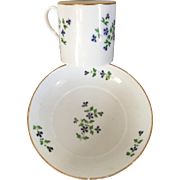 Antique 18th century Nast Old Paris Porcelain Coffee Can and Saucer in the Sprig or Cornflower Pattern