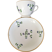 Antique 18th century Nast Old Paris Porcelain Coffee Tea Cup and Saucer in the Sprig or Cornflower Pattern