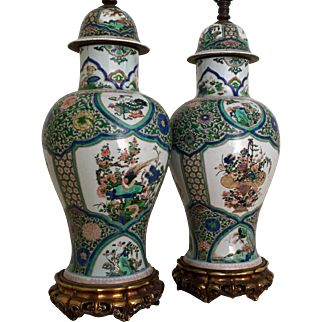 Very Large Pair Antique 19th century Samson Porcelain Famille Vert Vases / Jars with Covers Decorated with Precious Objects in the Chinese Kangxi Taste Mounted as Lamps