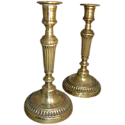 Antique Pair 18th century English Brass Candlesticks