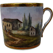 Antique 19th century Old Paris Porcelain Coffee Can Decorated with Continuous Hand Painted Landscape Scene