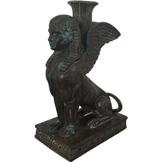Antique 19th century Grand Tour Egyptian Revival Bronze Model of the Winged Sphinx as a Candlestick