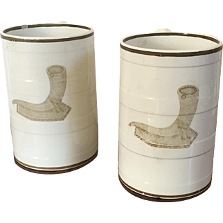 Rare Pair of Large Antique Early 19th century Wedgwood Creamware Porter's Tankard Mugs for Beer or Ale 1810