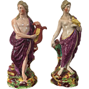 Pair Antique 18th century Ralph Wood English Staffordshire Pearlware Classical Figures of Venus and Apollo 1780