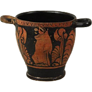 Early Greek Pottery Skyphos Cup Decorated with Classical Figures from Antiquity