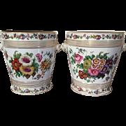 Pair Antique 19th century Old Paris Porcelain Cachepot Flower Pot Planters on Stands with Lion Mask Handles