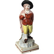 Antique Early 19th century English Staffordshire Pearlware Figure Emblematic of Winter from the Four Seasons