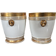 Pair Antique 19th century Old Paris Porcelain Cache Pot Planters or Flower Pots on Stands in White & Gold with Lion Mask Handles