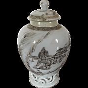 Antique 18th century Vase Form Chinese Export Porcelain Tea Caddy Decorated with a Continuous Harbor Landscape en Grisaille