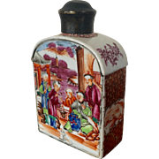 Antique 18th century Chinese Export Porcelain Tea Caddy with Famille Rose Decoration of Court Scenes