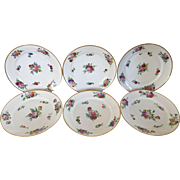 Set 6 Antique 19th century French Old Paris Porcelain Dinner Plates with Hand Painted Floral Sprigs & Gilt Rim 1820