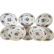 Set 8 Antique 19th century French Old Paris Porcelain Soup Bowl Plates with Hand Painted Floral Sprigs & Gilt Rim 1820
