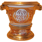 Antique Early 19th century English Spode Porcelain Flower Root Pot or Cachepot & Stand in Bright Orange with Gilt Dolphin Head Handles 1810