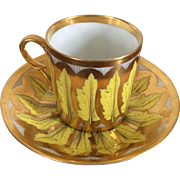 Antique Early 19th century Old Paris Porcelain Neoclassical Coffee Can Tea Cup & Saucer in Bright Yellow Leaves with Gold 1800 - 1810