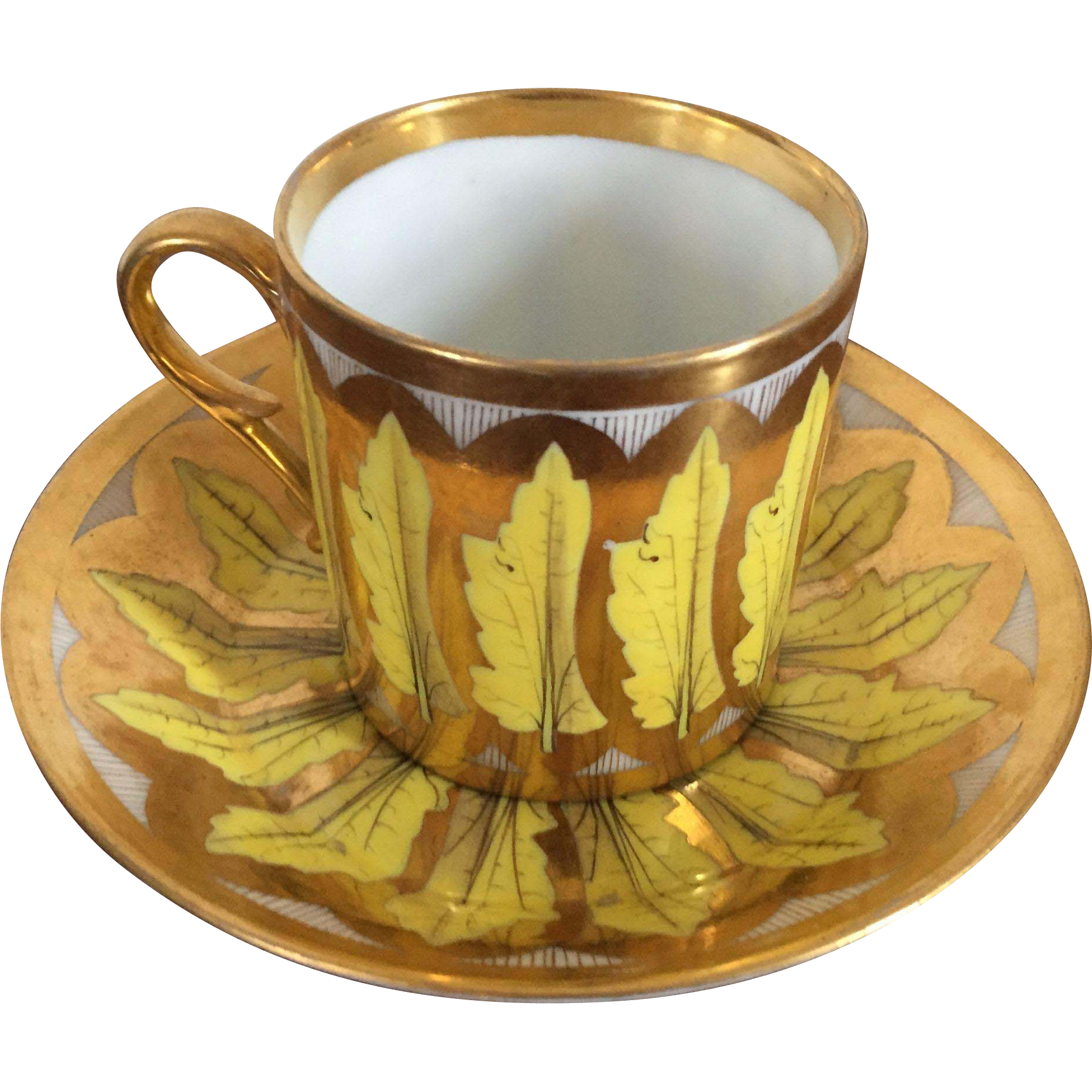 French Empire Vieux Paris Porcelain Cup Saucer Dartes: Antique Early 19th Century French Empire Old Paris