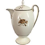 Early 19th c. English Wedgwood Creamware Agricultural Devices Coffee Pot Decorated with Garden Implements and Domestic Tools c. 1810