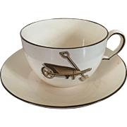 Early 19th c. English Wedgwood Creamware Agricultural Devices Coffee Tea Cup & Saucer Decorated with Garden Implements and Domestic Tools c. 1810