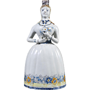 Antique 19th century Continental Tin Glaze Faience Figural Decanter in the Form of a Woman with Flowers