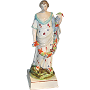 Large Antique 19th century Enoch Wood Staffordshire Pearlware Figure of Flora c. 1820