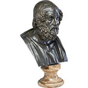 Large Antique 19th century Italian Grand Tour Library Bronze Classical Bust of Homer Mounted on Original Marble Socle