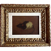 American 19th century Oil Painting on Board Portrait of a Rat in 18th century Carved & Gilt Wood Frame