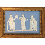 Antique 19th century Neoclassical Wedgwood Light Blue Jasperware Plaque Depicting the Arts in Carved Gilt Wood Frame