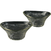 Pair 19th century English Regency Anglo Irish Cut Glass Crystal Oval Bowls or Boat Shape Vases 1820