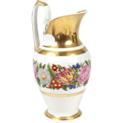Large Antique Early 19th century French Empire Paris Porcelain Pitcher Decorated with Swan Neck Handle and Floral Band 1810