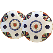 Pair Antique Derby Porcelain Low Bowls or Plates Decorated in the Worcester Dr. Wall Old Japan Fan Imari Pattern - Early 19th century 1810