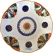 Antique Derby Porcelain Low Bowl or Plate Decorated in the Worcester Dr. Wall Old Japan Fan Imari Pattern - Early 19th century 1810